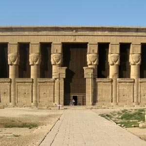 The Hathor temple was built by Ptolemy XII and nearly completed by Queen Cleopatra VII, around 54 to 20 BCE.