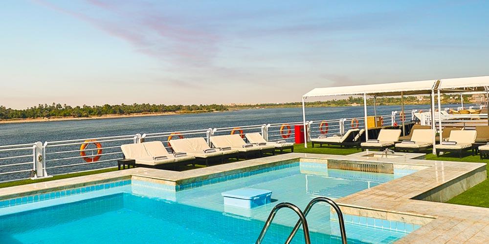 Pool & Sun Decks of Mövenpick MS Sun Ray Nile Cruise - Trips in Egypt