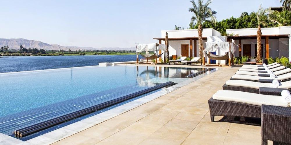 Sun Decks & Pool of Hilton Luxor Resort - Trips in Eypt