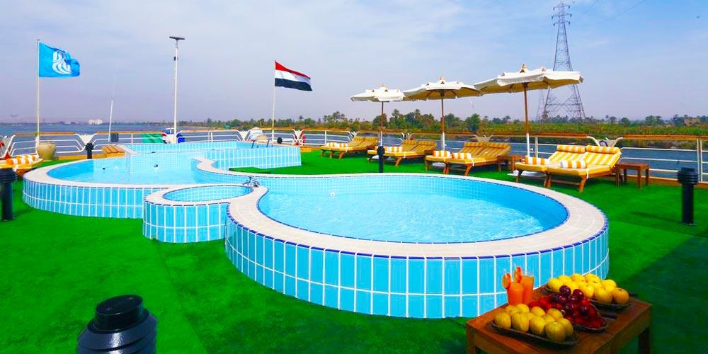 Sun Decks & Pool of Sonesta Nile Goddess Nile Cruise - Trips in Egypt